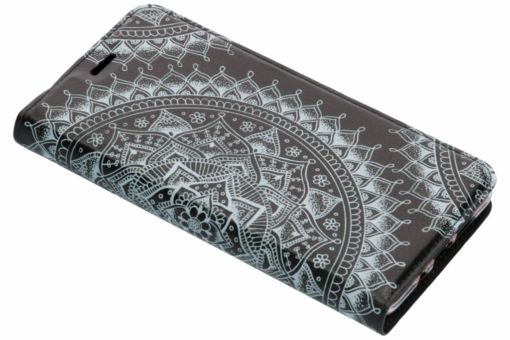 Zwart Mandala Design TPU Bookcase voor de Nokia 7 Plus