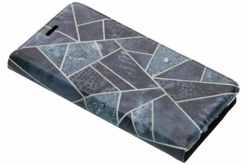 Blauw Grafisch Design TPU Bookcase voor de Nokia 7 Plus