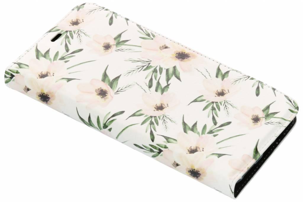 Wit Bloemen Design TPU Bookcase voor de OnePlus 6