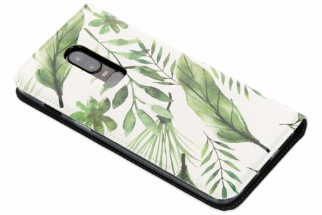Design Softcase Booktype voor OnePlus 6 - Monstera Leafs