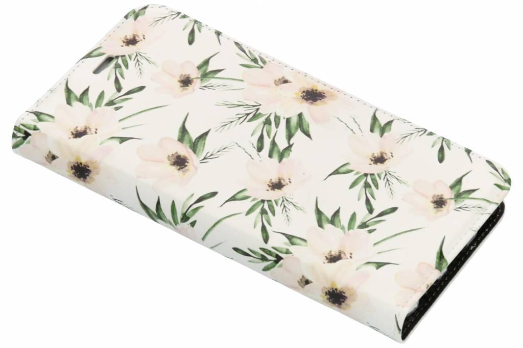 Wit Bloemen Design TPU Bookcase voor de Huawei Mate 10 Lite