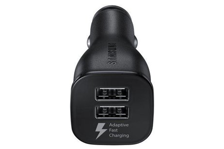 Samsung Zwarte Dual Fast Charge Car Adapter 2A + USB-C naar USB-kabel