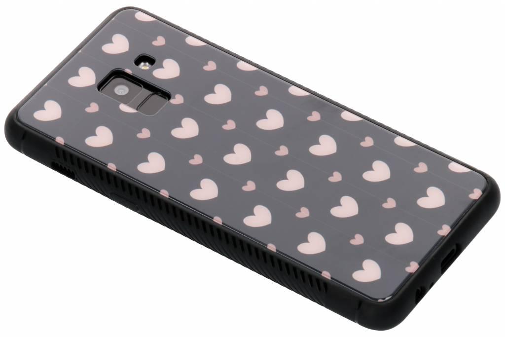 Roze hartjes design glazen hardcase voor de Samsung Galaxy A8 (2018)
