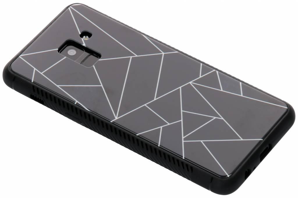 Zwart grafisch design glazen hardcase voor de Samsung Galaxy A8 (2018)
