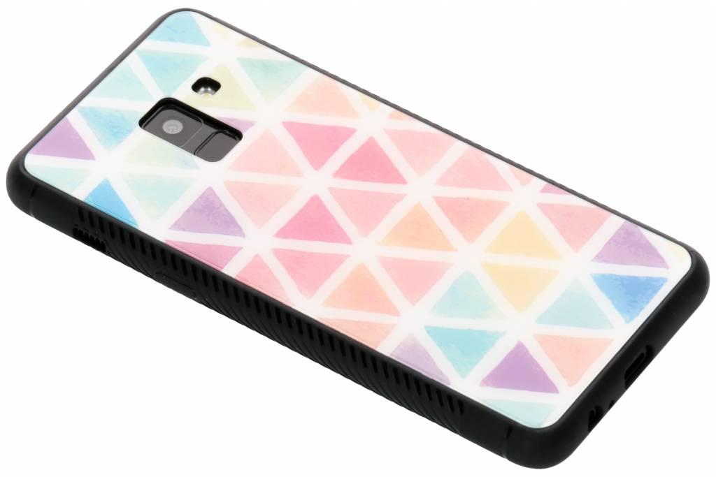 Gekleurd driehoekjes design glazen hardcase voor de Samsung Galaxy A8 (2018)