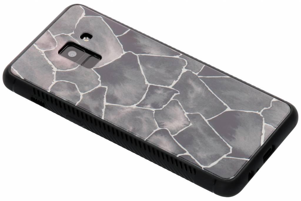 Grafisch steen design glazen hardcase voor de Samsung Galaxy A8 (2018)