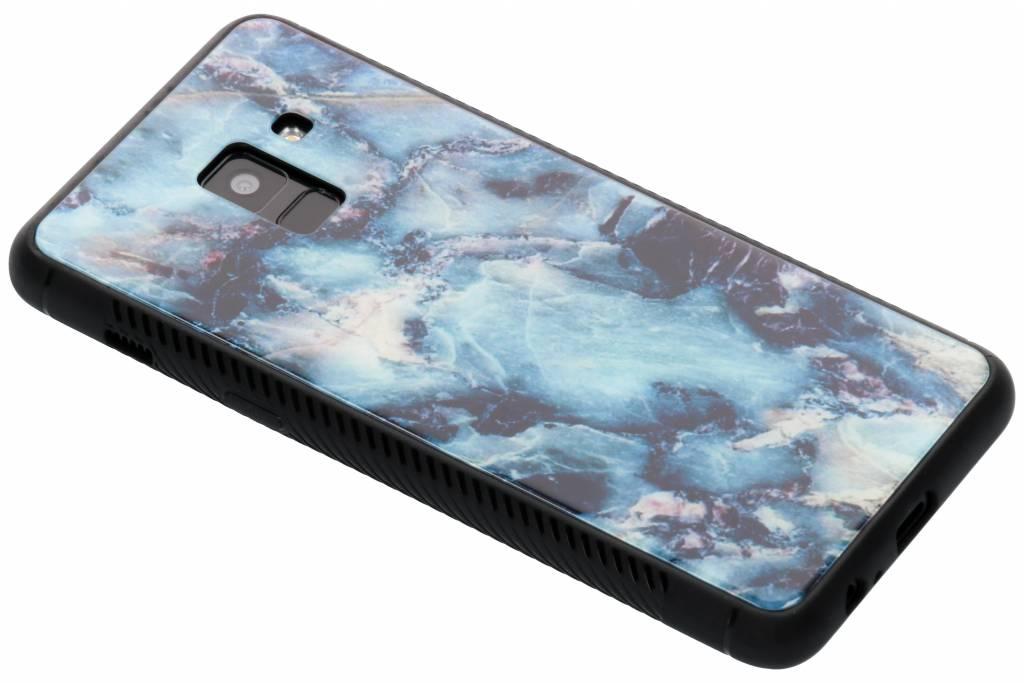 Blauw marmer design glazen hardcase voor de Samsung Galaxy A8 (2018)