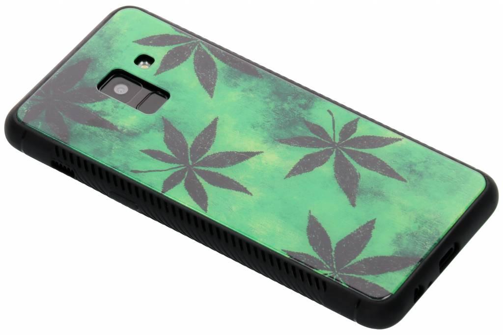 Groene plant design glazen hardcase voor de Samsung Galaxy A8 (2018)