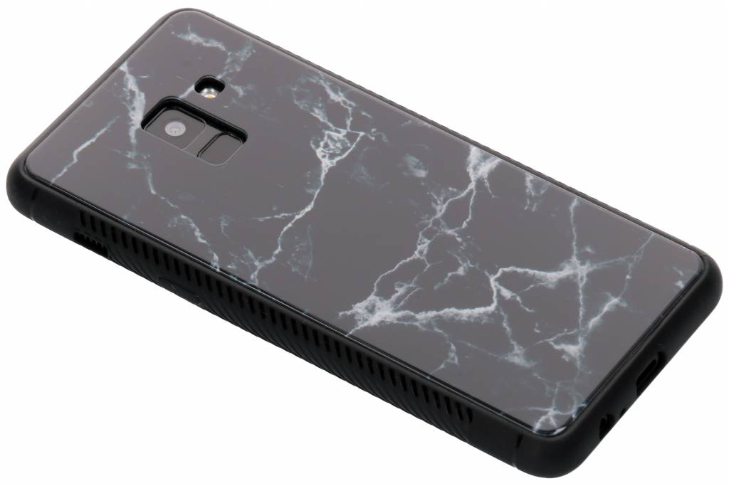 Zwart marmer design glazen hardcase voor de Samsung Galaxy A8 (2018)