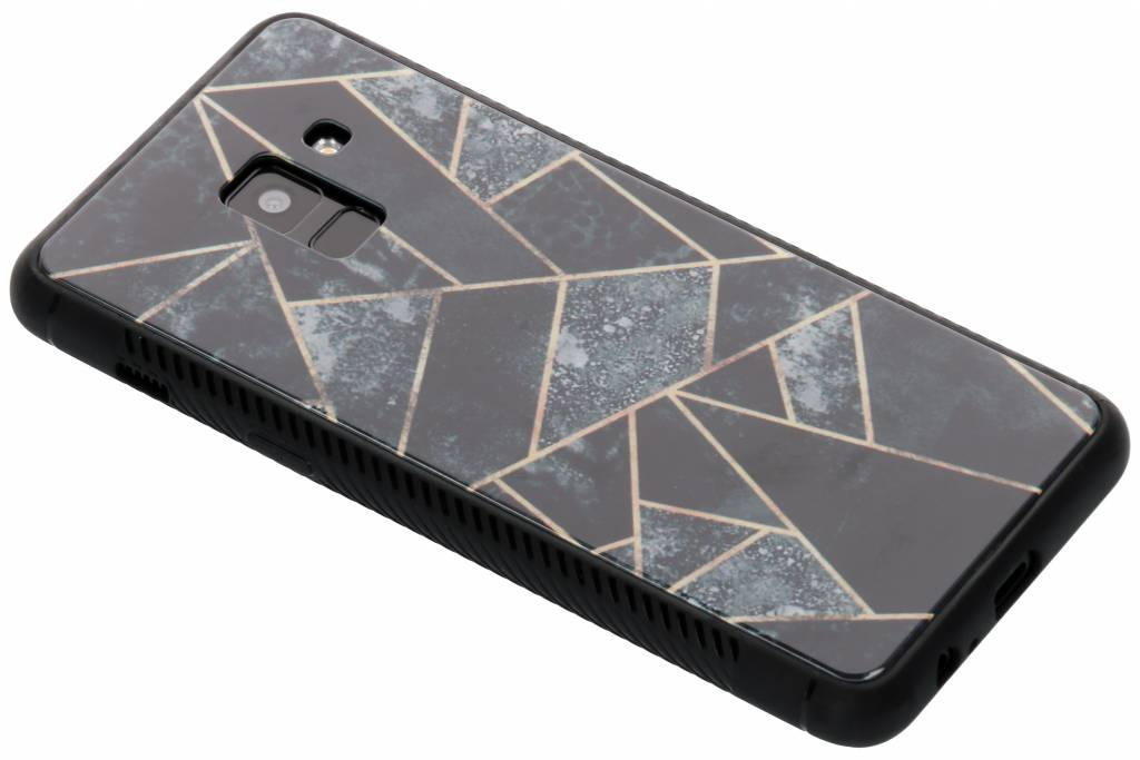 Grijs grafisch design glazen hardcase voor de Samsung Galaxy A8 (2018)