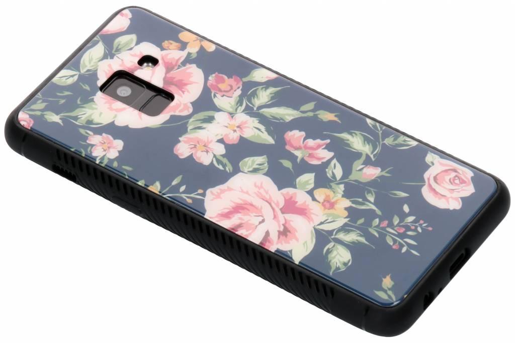 Blauw bloemen design glazen hardcase voor de Samsung Galaxy A8 (2018)