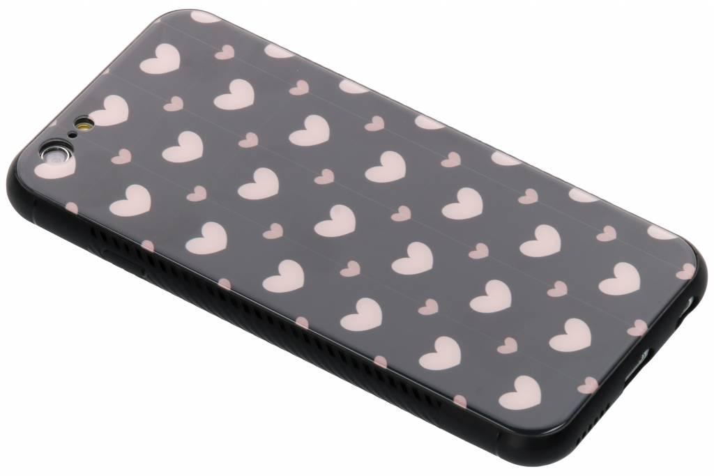 Roze hartjes design glazen hardcase voor de iPhone 6 / 6s