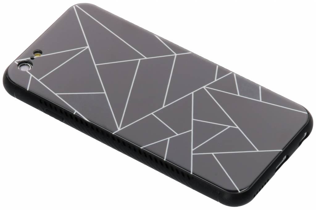 Zwart grafisch design glazen hardcase voor de iPhone 6 / 6s