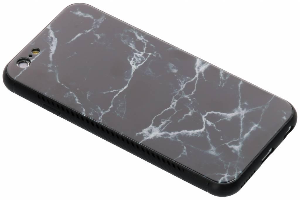 Zwart marmer design glazen hardcase voor de iPhone 6 / 6s