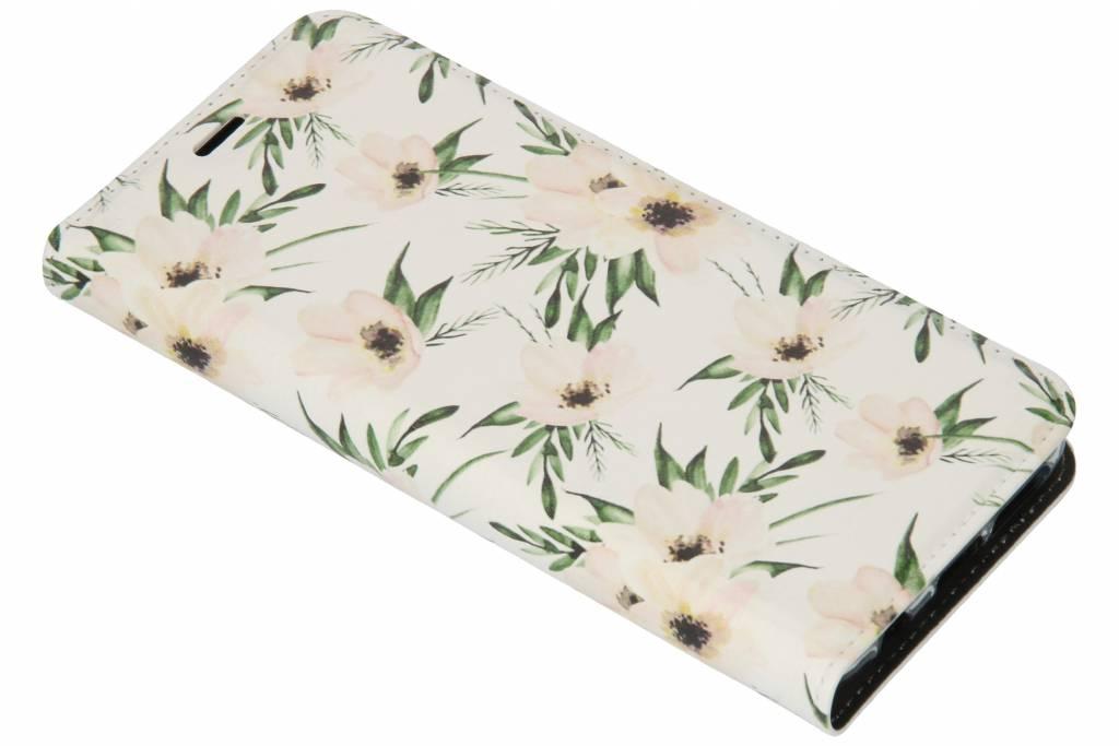 Wit Bloemen Design TPU Bookcase voor de Samsung Galaxy S9