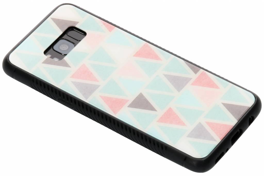 Grafisch driehoekjes design glazen hardcase voor de Samsung Galaxy S8