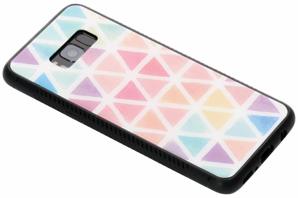 Gekleurd driehoekjes design glazen hardcase voor de Samsung Galaxy S8