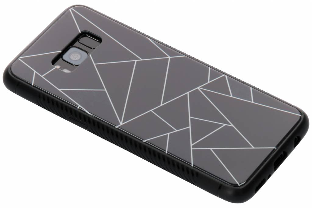 Zwart grafisch design glazen hardcase voor de Samsung Galaxy S8