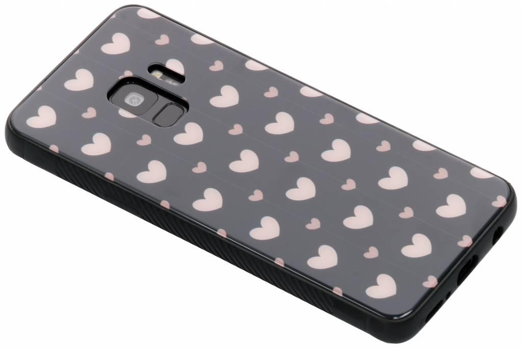 Roze hartjes design glazen hardcase voor de Samsung Galaxy S9