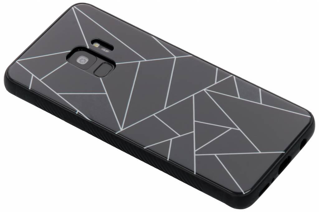 Zwart grafisch design glazen hardcase voor de Samsung Galaxy S9