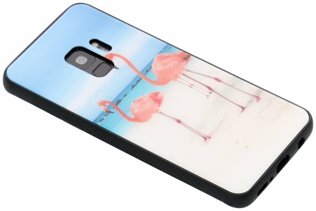 Flamingo beach design glazen hardcase voor de Samsung Galaxy S9