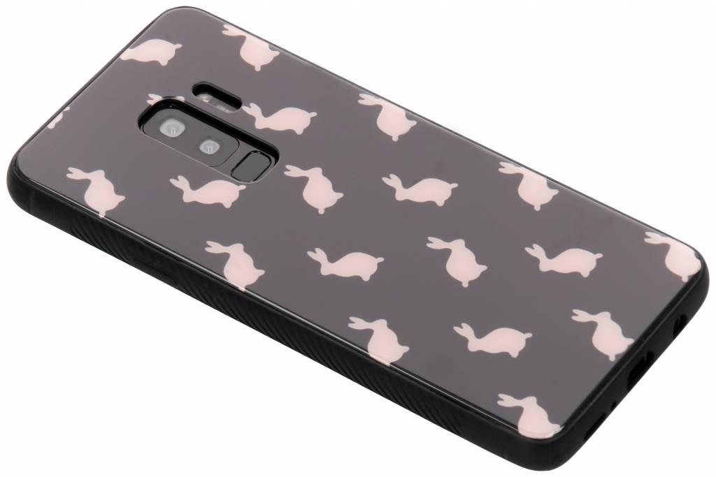 Roze konijn design glazen hardcase voor de Samsung Galaxy S9 Plus
