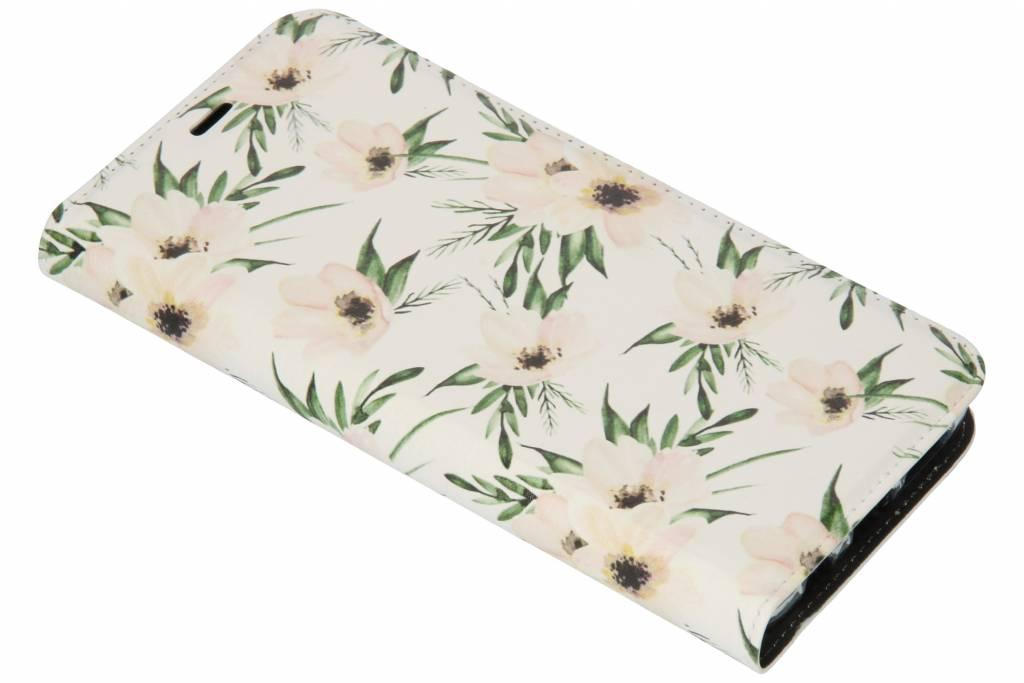 Wit Bloemen Design TPU Bookcase voor de Samsung Galaxy S9 Plus
