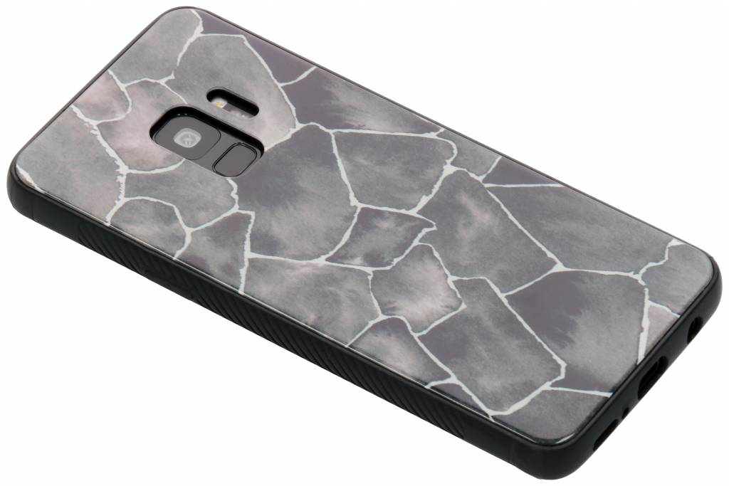 Grafisch steen design glazen hardcase voor de Samsung Galaxy S9