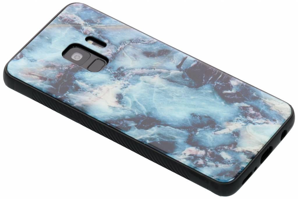 Blauw marmer design glazen hardcase voor de Samsung Galaxy S9