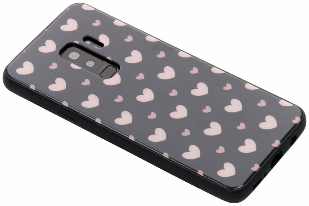 Roze hartjes design glazen hardcase voor de Samsung Galaxy S9 Plus
