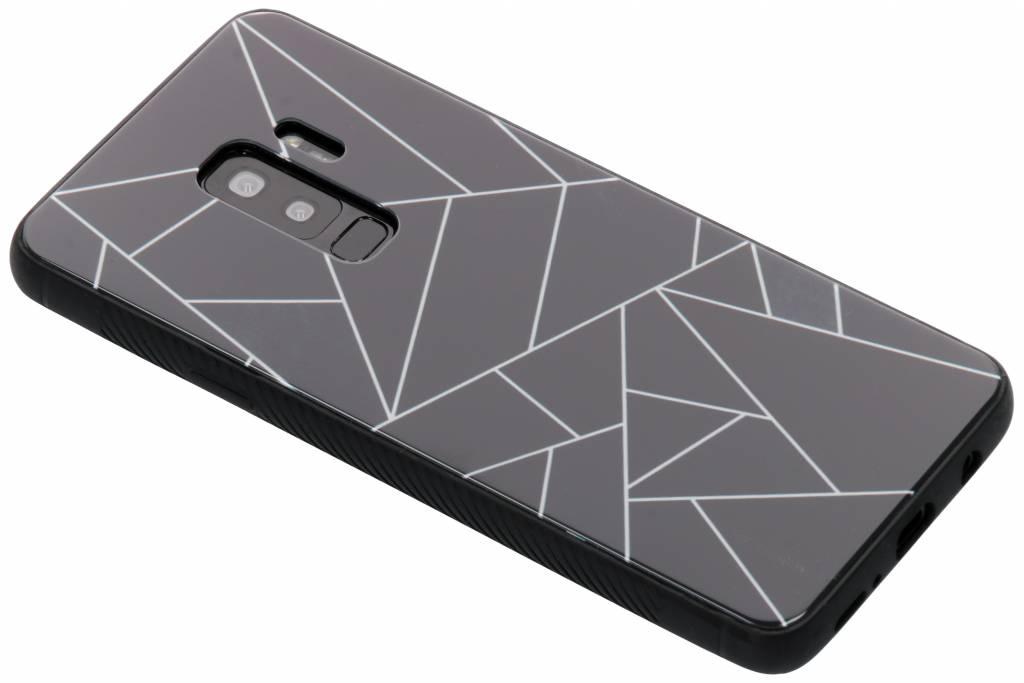 Zwart grafisch design glazen hardcase voor de Samsung Galaxy S9 Plus