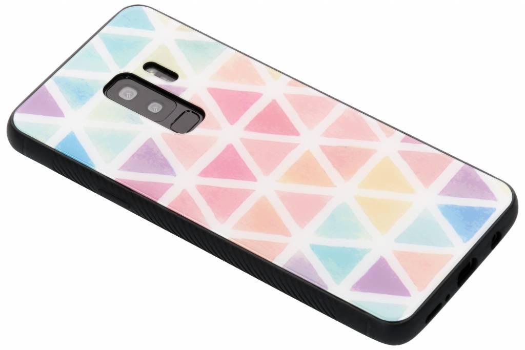Gekleurd driehoekjes design glazen hardcase voor de Samsung Galaxy S9 Plus