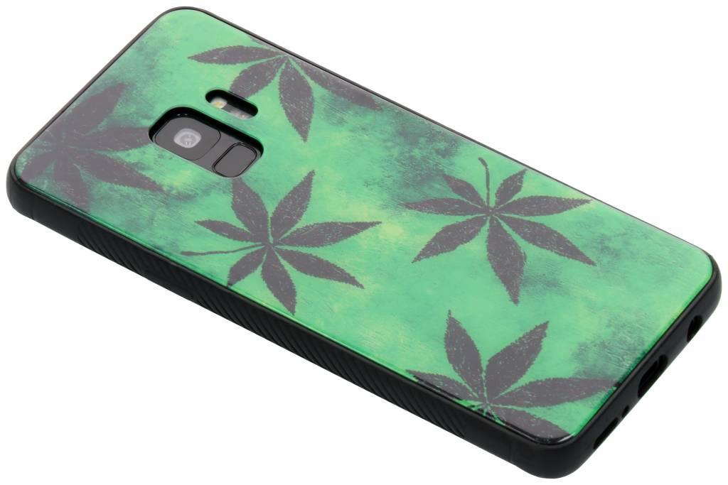 Groene plant design glazen hardcase voor de Samsung Galaxy S9