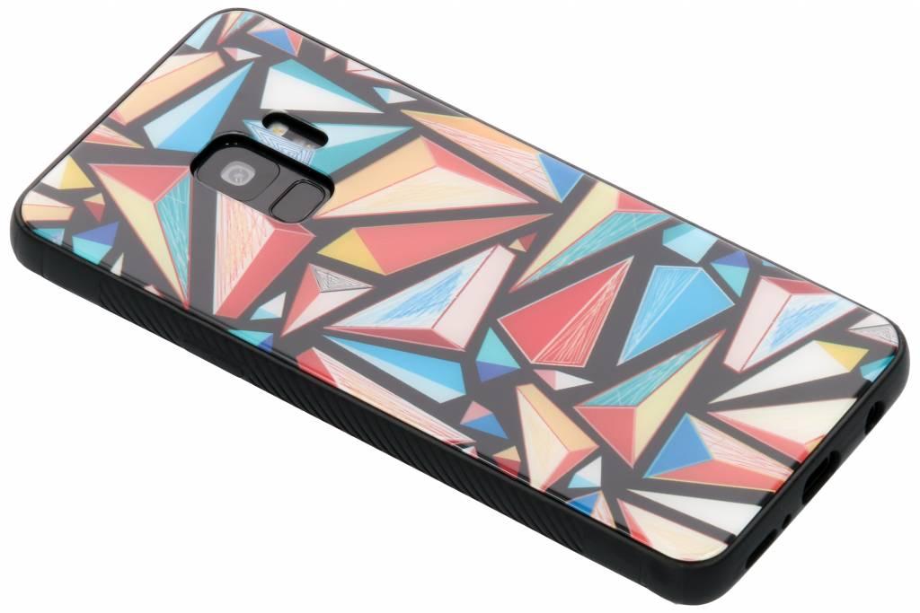Grafische kleuren design glazen hardcase voor de Samsung Galaxy S9