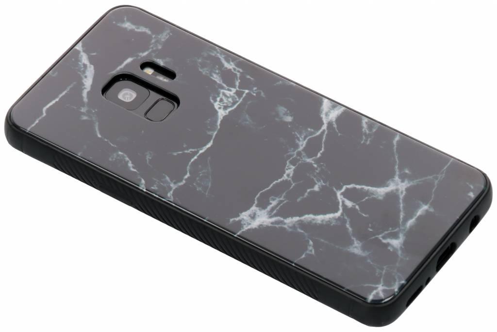 Zwart marmer design glazen hardcase voor de Samsung Galaxy S9