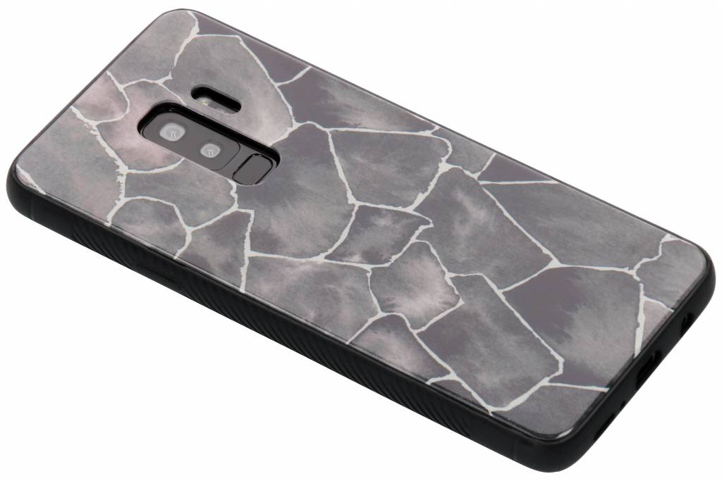 Grafisch steen design glazen hardcase voor de Samsung Galaxy S9 Plus