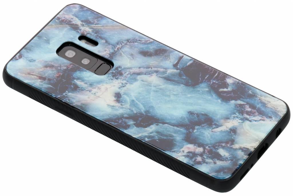 Blauw marmer design glazen hardcase voor de Samsung Galaxy S9 Plus
