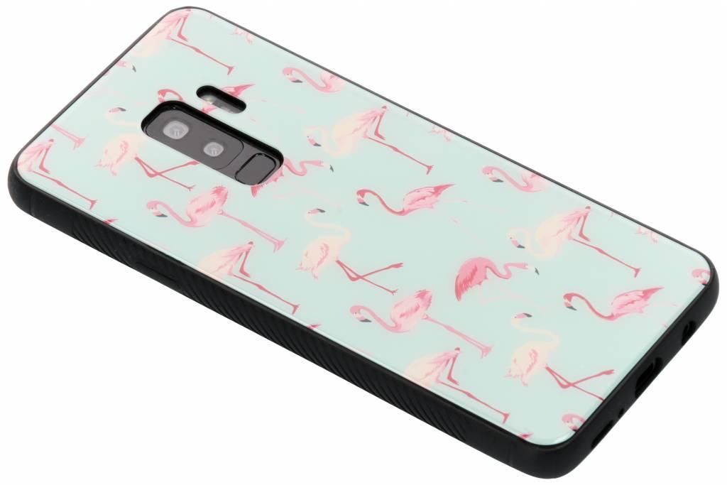 Flamingo design glazen hardcase voor de Samsung Galaxy S9 Plus