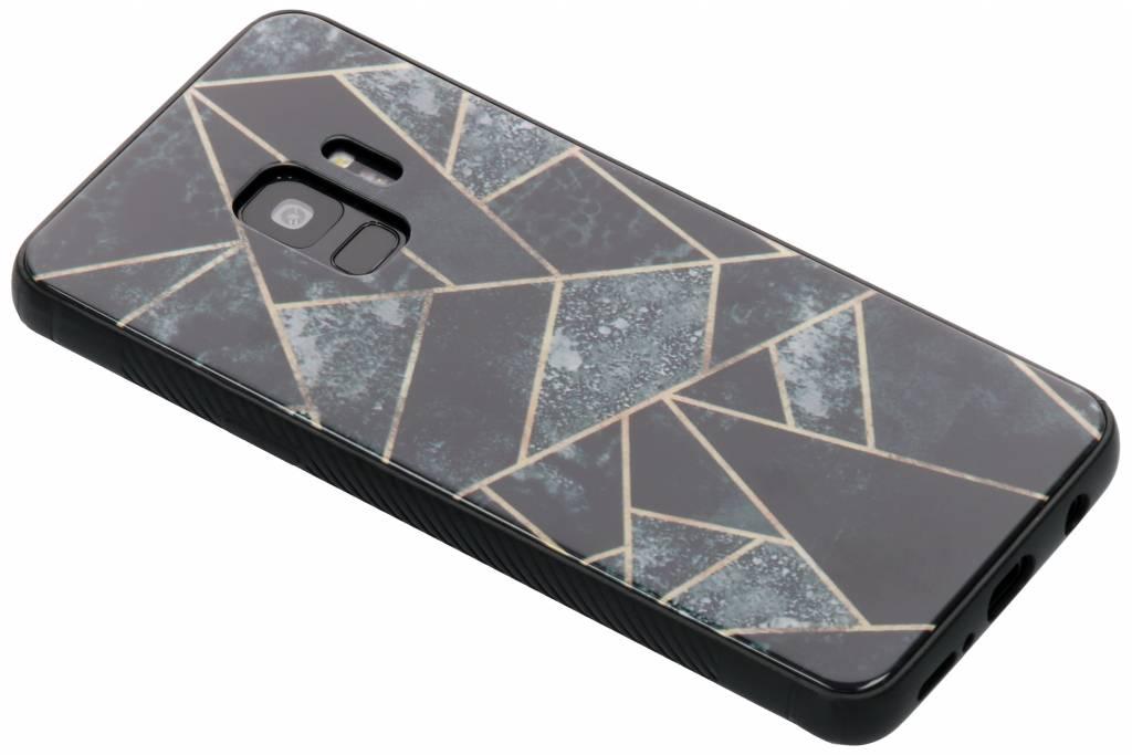 Grijs grafisch design glazen hardcase voor de Samsung Galaxy S9