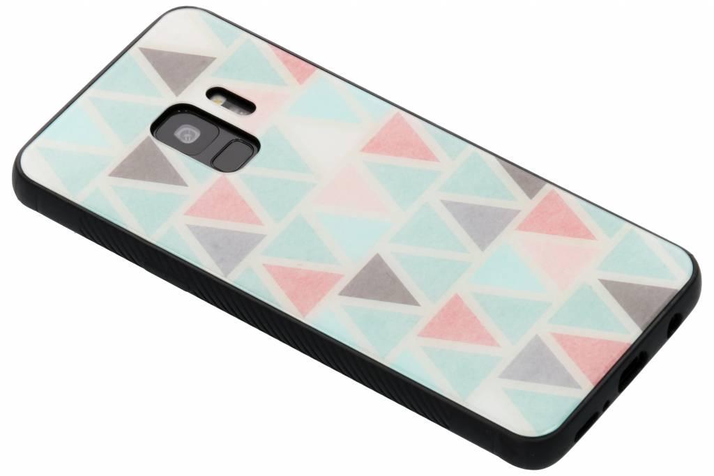 Grafisch driehoekjes design glazen hardcase voor de Samsung Galaxy S9