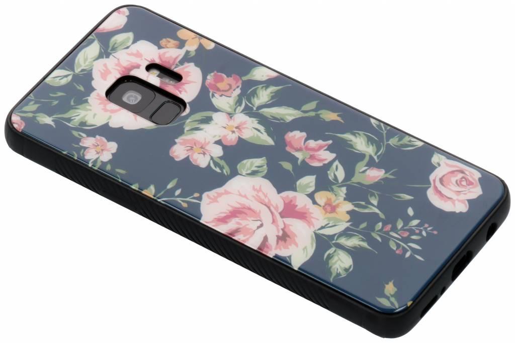 Blauw bloemen design glazen hardcase voor de Samsung Galaxy S9