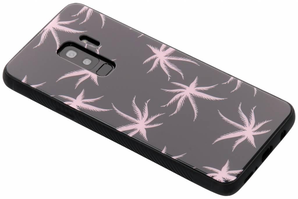Roze plant design glazen hardcase voor de Samsung Galaxy S9 Plus