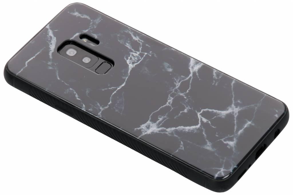 Zwart marmer design glazen hardcase voor de Samsung Galaxy S9 Plus