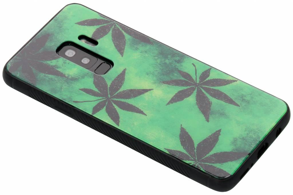 Groene plant design glazen hardcase voor de Samsung Galaxy S9 Plus
