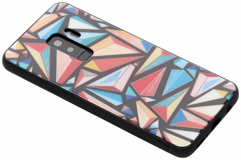 Grafische kleuren design glazen hardcase voor de Samsung Galaxy S9 Plus