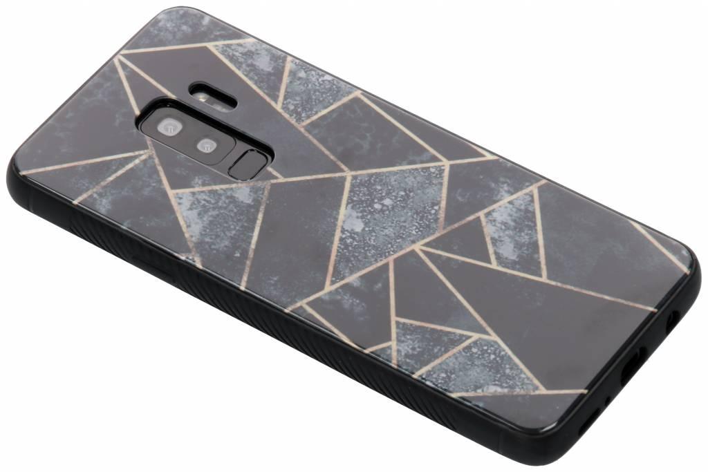 Grijs grafisch design glazen hardcase voor de Samsung Galaxy S9 Plus