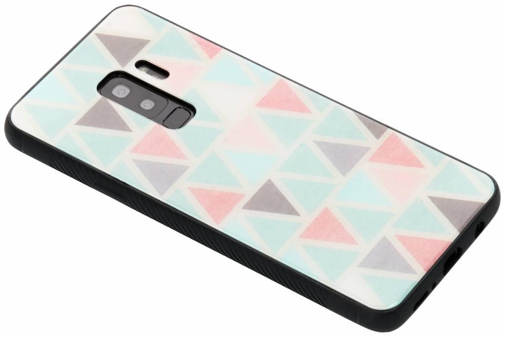 Grafisch driehoekjes design glazen hardcase voor de Samsung Galaxy S9 Plus