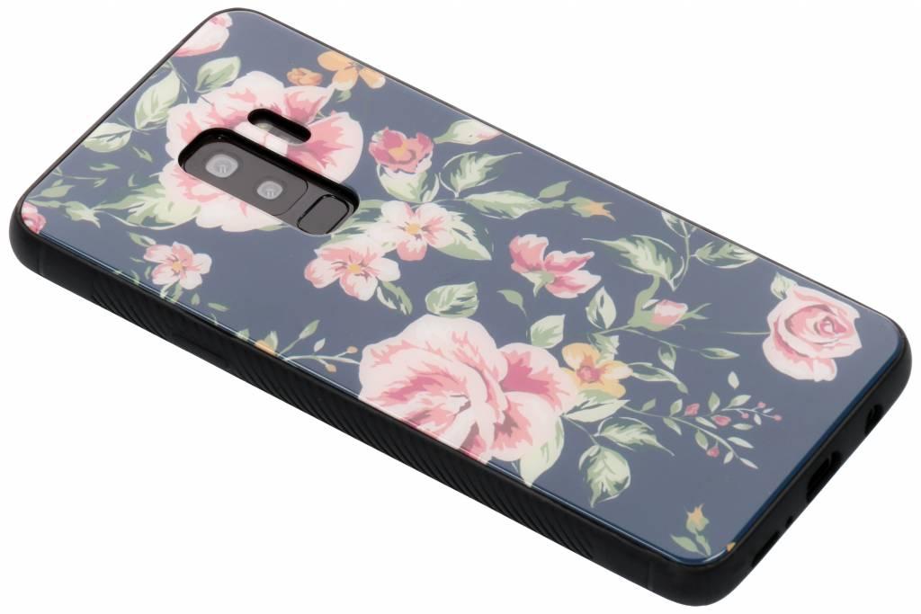 Blauw bloemen design glazen hardcase voor de Samsung Galaxy S9 Plus
