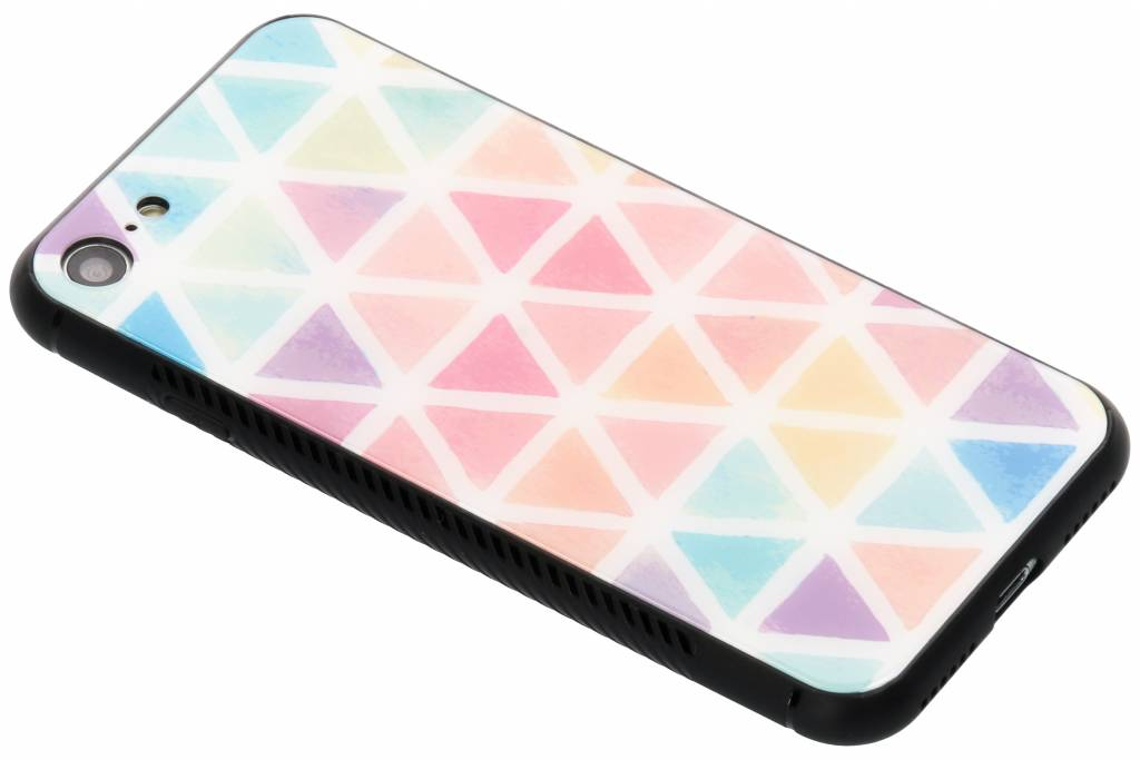 Gekleurd driehoekjes design glazen hardcase voor de iPhone 8 / 7