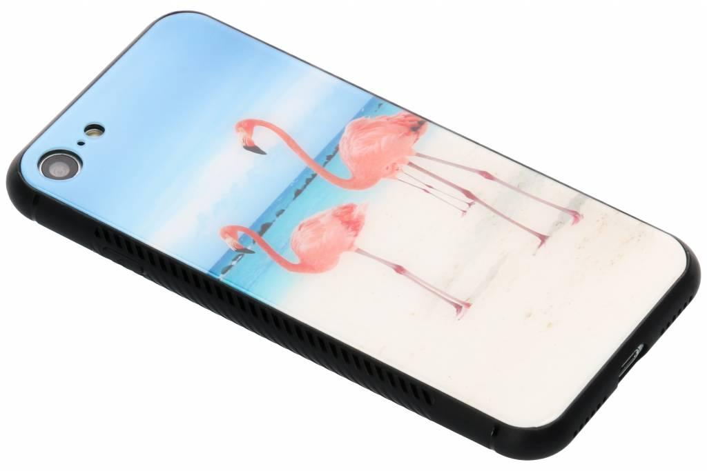 Flamingo beach design glazen hardcase voor de iPhone 8 / 7